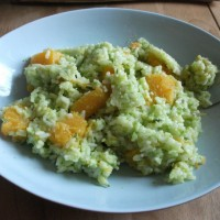 Butternut squash risotto with pea and rosemary pesto: non-smelly cooking!