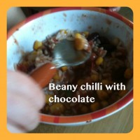 Slow cooked beany chilli with chocolate