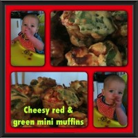 Cheesy red & green mini muffins