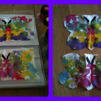 Silk butterfly painting for kids